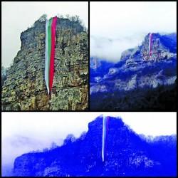 """80-метров трибагреник беше спуснат от скалата """"Триъгълника"""""""